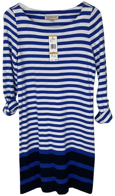 Item - Blue Seaport Multi Stripe Tab Sleeve with Tag Mid-length Short Casual Dress Size 4 (S)