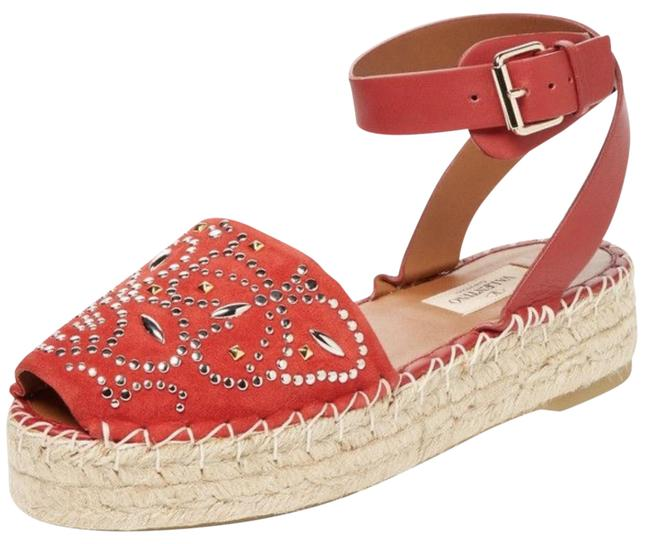 Item - Red Studded Suede Leather Espadrille Sandals Size EU 39 (Approx. US 9) Regular (M, B)
