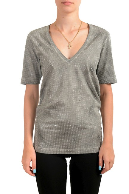 Item - Gray Women's Distressed Look Sparkle V-neck T-shirt Tee Shirt Size 2 (XS)