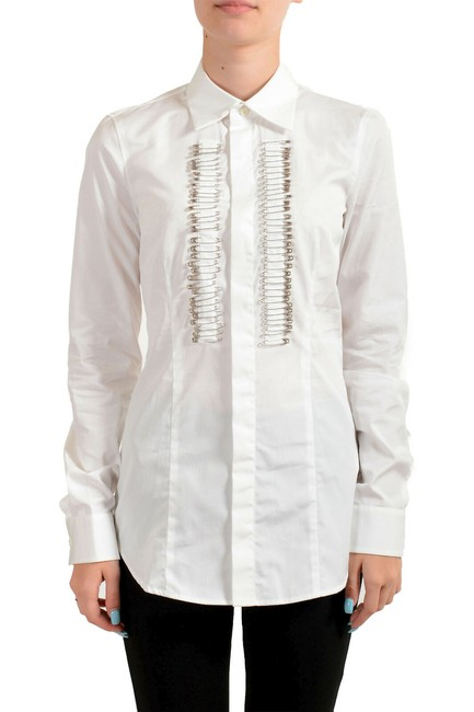 Item - White Women's Pins Decorated Long Sleeve Shirt Blouse Size 2 (XS)