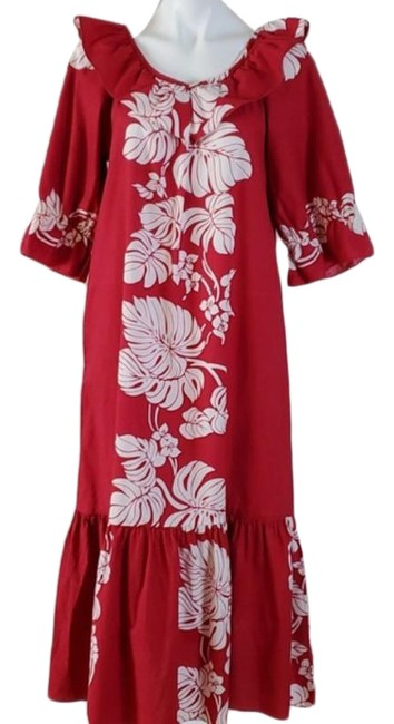 Item - Red Floral Hawaiian Mid-length Casual Maxi Dress Size 8 (M)
