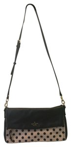 Kate Spade Leather Canvas Pebbled Gold Polka Dot Cross Body Bag