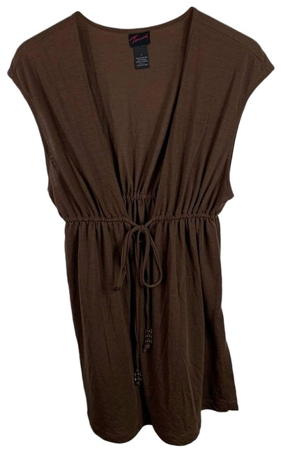 Item - Brown V Neck Tunic Womens 1x Tie Front Blouse Size 20 (Plus 1x)