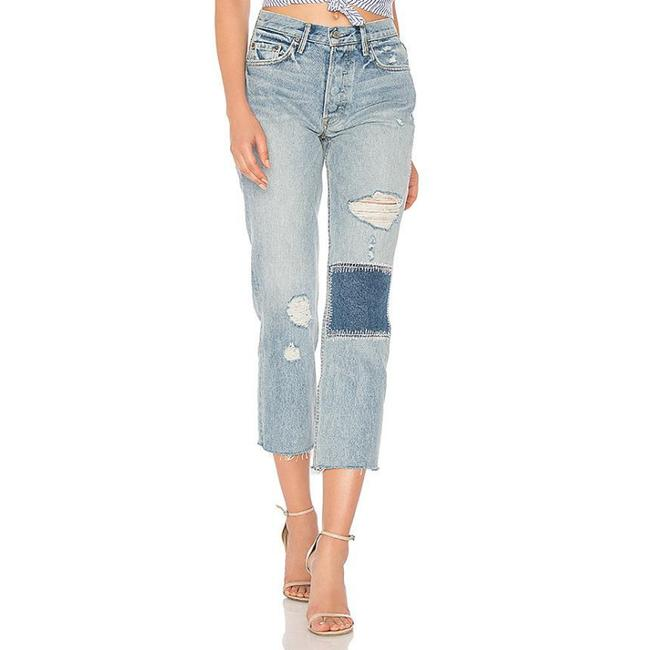 Item - Blue Distressed Helena High Button Fly Crop Straight Leg Jeans Size 29 (6, M)