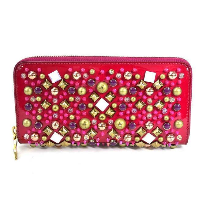 Item - Multi-color / Pink Round Purse Panettone Patent Leather Studs Ladies Wallet