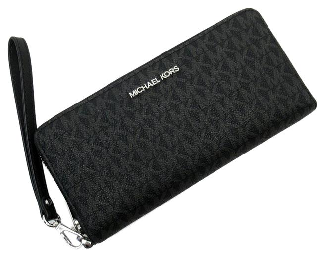 Item - Black / Silver Round Leather Wallet