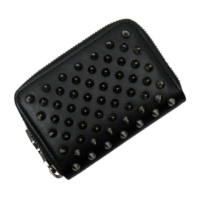 Item - Black / Silver Coin Case Panettone Leather Studs Wallet