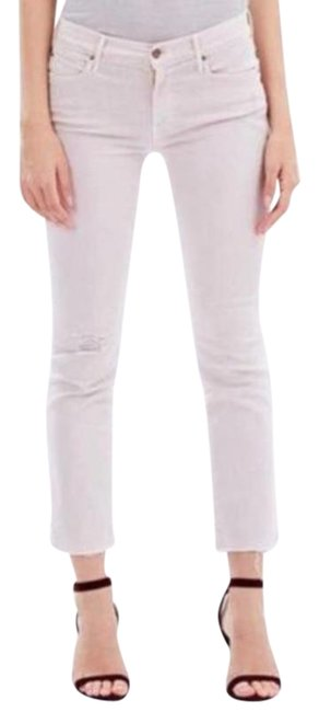 Item - Cream Pink Distressed The Rascal Ankle Snippet Capri/Cropped Jeans Size 27 (4, S)