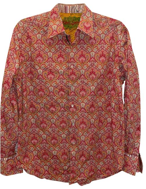 Item - Orange Rare Embroidered Paisley Shirt Large Button-down Top Size 12 (L)