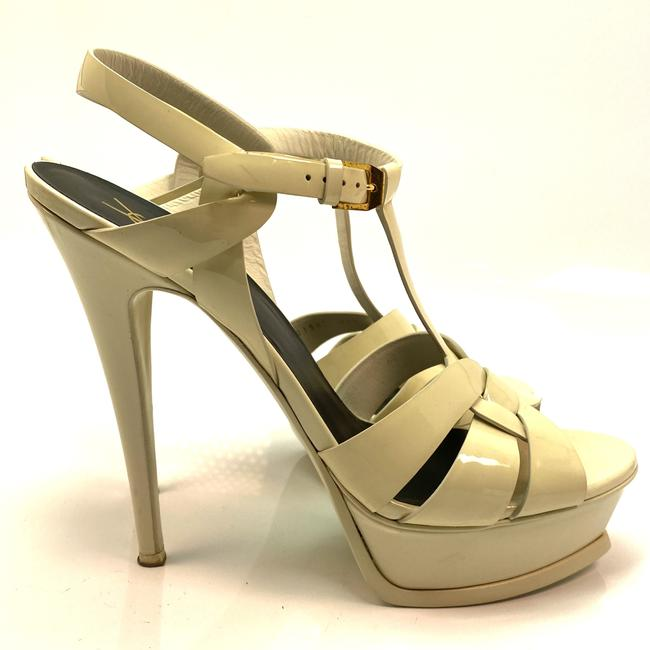 Item - White Tribute Ysl Yves Off-white Patent Leather Pumps Sandals Size EU 40.5 (Approx. US 10.5) Regular (M, B)