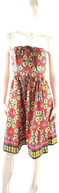 Item - Multicolor Floral Blue Red Yellow Strapless Mid-length Short Casual Dress Size 6 (S)