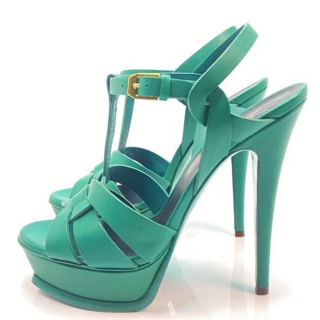 Item - Green Tribute Ysl Yves Leather Sandals Size EU 37 (Approx. US 7) Regular (M, B)