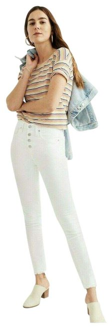 Item - White Mid Rise Button Fly Skinny Jeans Size 32 (8, M)