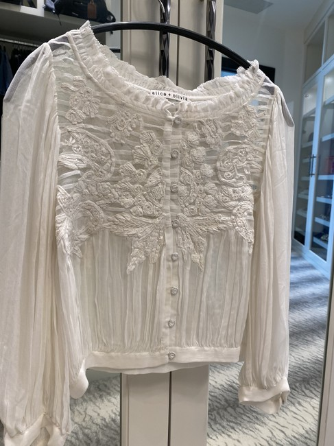 Item - Off White Sheer Puff Sleeve Blouse Size 2 (XS)