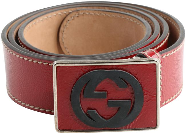 Item - Red Patent Leather Gg Plaque Belt