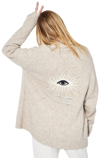 Item - Oatmeal Embroidered Eye Love Friendship Cardigan Sweater S Coat Size 4 (S)