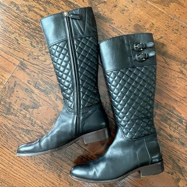 Item - Black W Quilted Leather Tall Riding W/Zip Boots/Booties Size EU 39 (Approx. US 9) Regular (M, B)