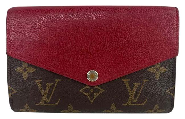 Item - Red Pallas Compact Monogram Canvas Cherry Leather Wallet