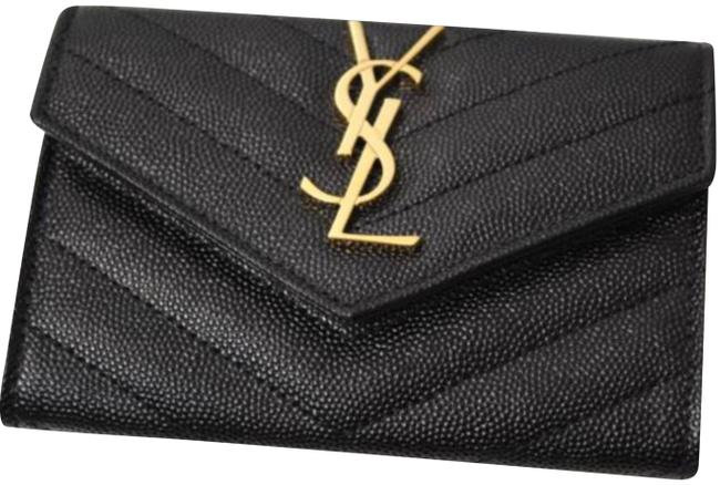 Item - Black Clutch New Ysl Quilted Mini Snap Leather Tote Wallet