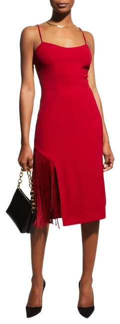 Item - Red Rory Fringe Sheath Mid-length Cocktail Dress Size 12 (L)