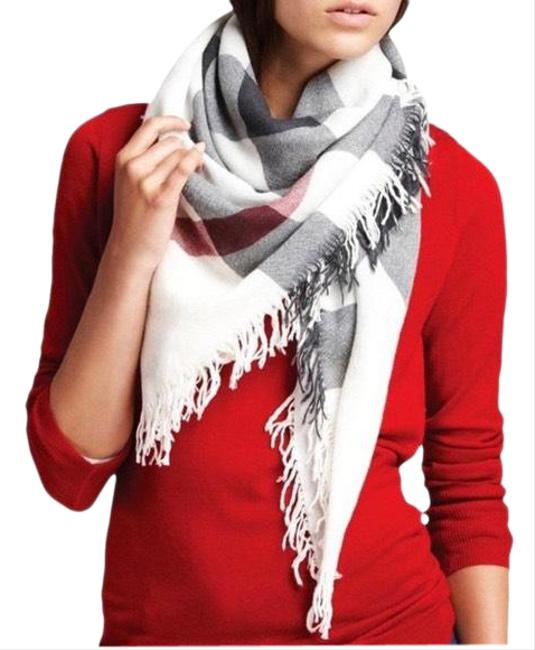 Item - White House Check Extrafine Square Wool Scarf/Wrap
