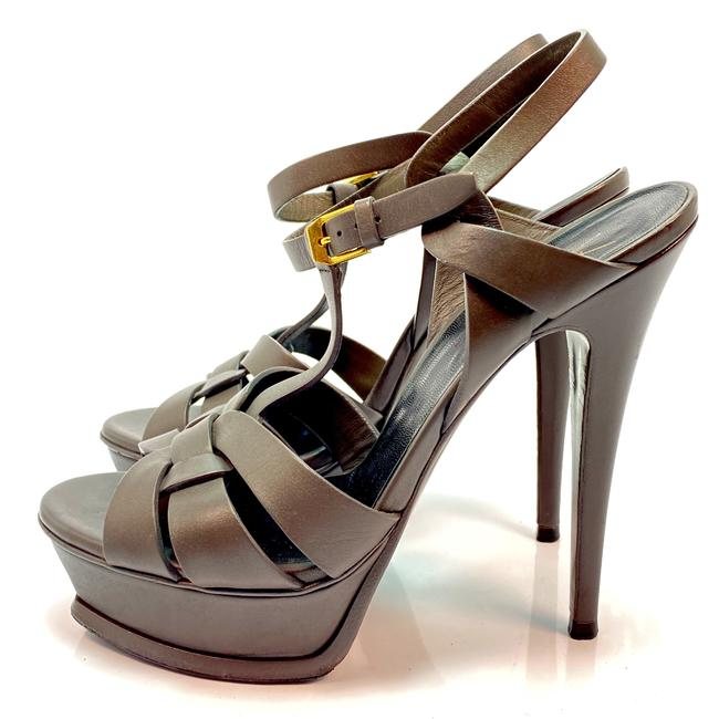 Item - Gray Tribute Ysl Yves Leather Sandals Size EU 38 (Approx. US 8) Regular (M, B)