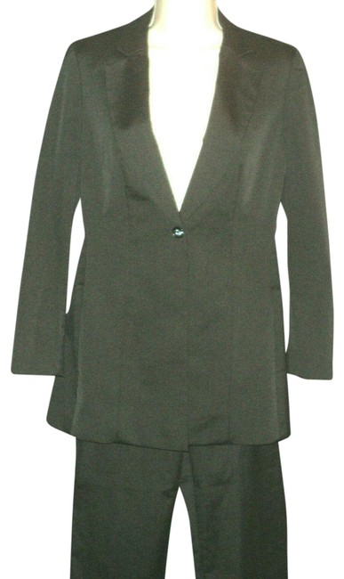 Item - Black Silk Blend Lined Notched Collar Classic Office Business Pant Suit Size 6 (S)