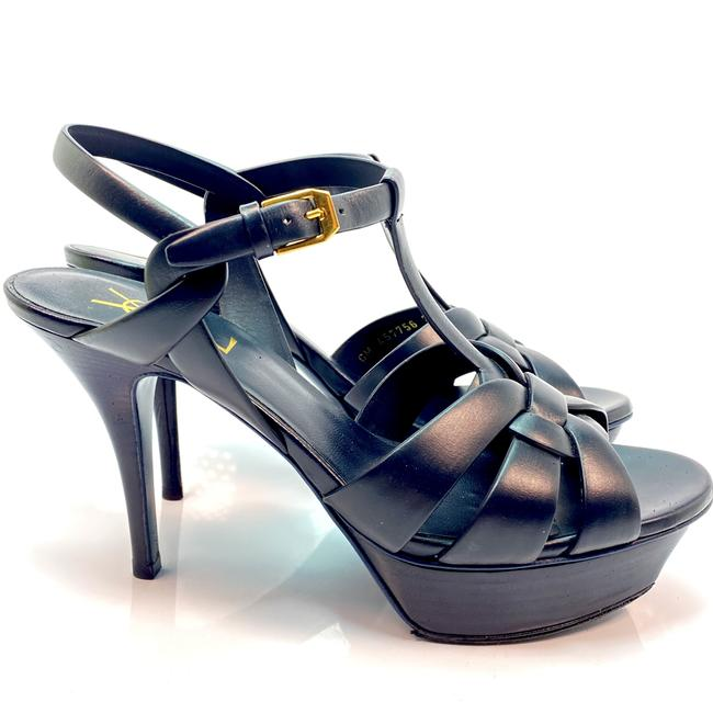 Item - Navy Blue Tribute Ysl Yves Leather Pumps Sandals Size EU 38.5 (Approx. US 8.5) Regular (M, B)