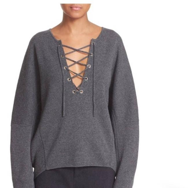 Item - Front Lace Up Wool Cashmere Blend Gray Sweater