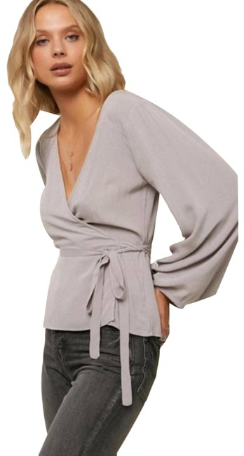 Item - Gray Barrymore Long Sleeve Blouse Size 4 (S)