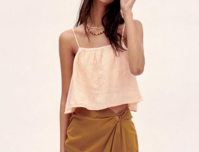 Item - Peach Cropped Linen In Tank Top/Cami Size 8 (M)