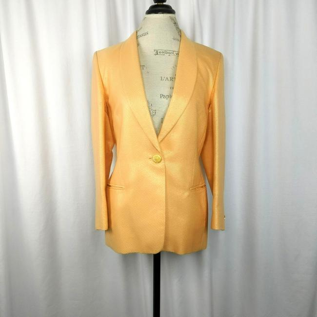 Item - Orange Couture and Gold Metallic Fitted Blaze Skirt Suit Size 4 (S)