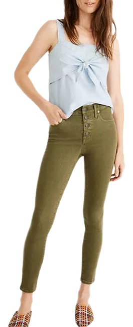 """Item - Green 9"""" Mid Rise Crop Skinny Jeans Size 28 (4, S)"""