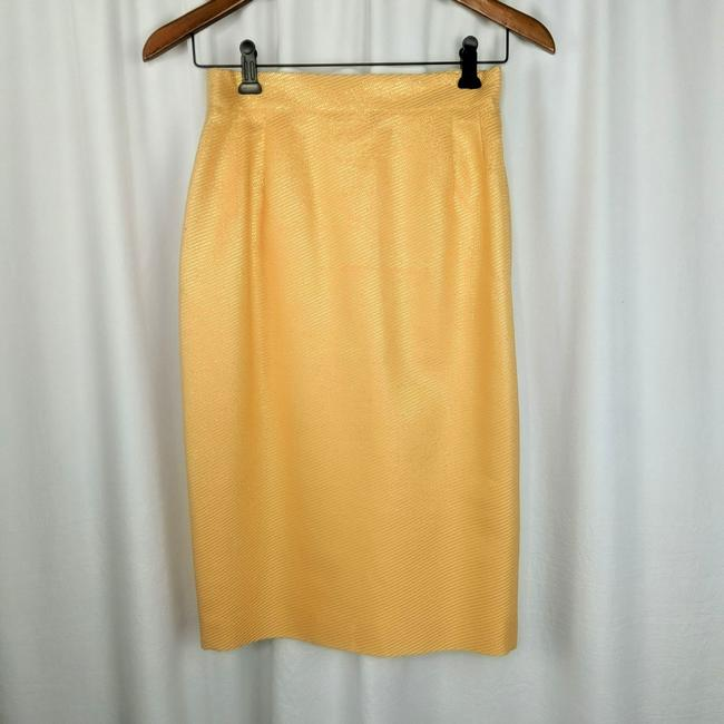 Item - Orange Couture and Gold Metallic Pencil Skirt Size 4 (S, 27)