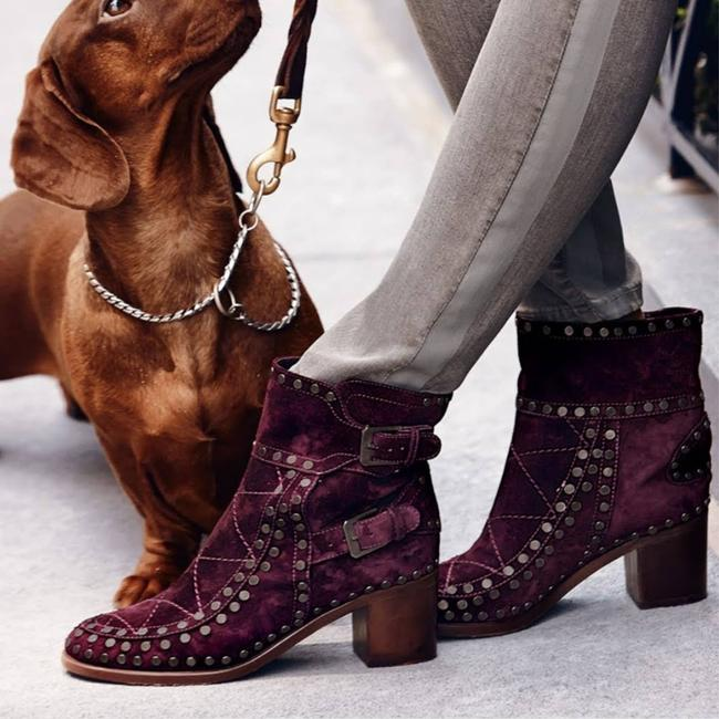 Item - Purple Studded Suede Ankle Boots/Booties Size US 6 Regular (M, B)