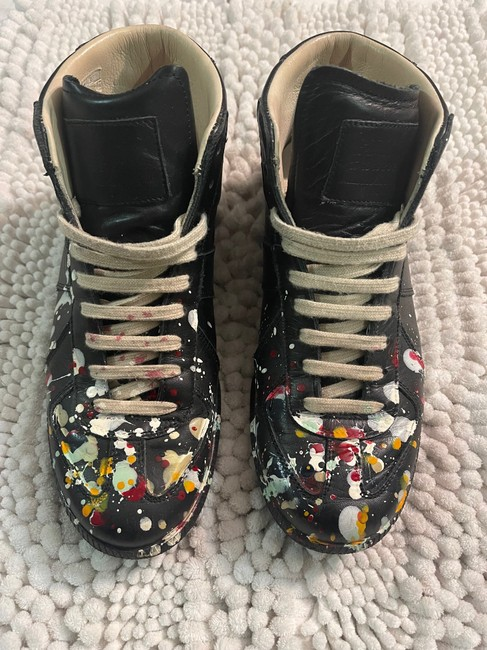 Item - Black with Cream Laces and Splatter Paint Multi Hightop Sneakers Size US 7 Regular (M, B)