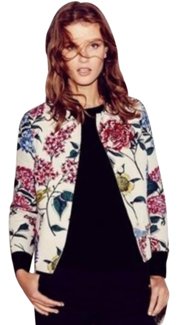 Item - Cream with Floral Print And Bird Cropped/Short Jacket Blazer Size 14 (L)