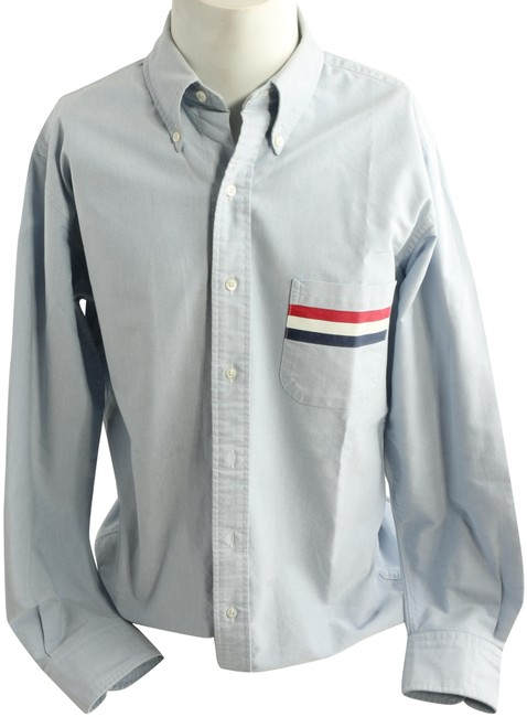 Item - Blue Classic Sport Shirt with Stripes Button-down Top Size 4 (S)
