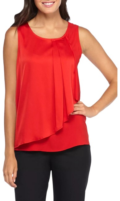 Item - Red Crossover Ruffle Front Sleeveless Blouse Size 12 (L)