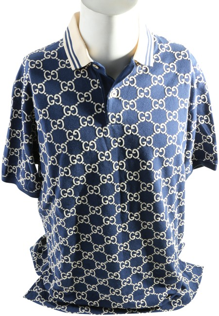 Item - Blue Embroidered Gg Polo Shirt Button-down Top Size 10 (M)