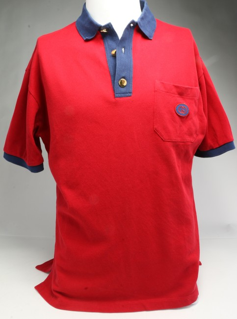 Item - Red Cotton Polo with Interlocking G Patch Button-down Top Size 6 (S)