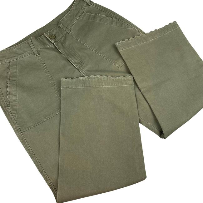 Item - Green Olive Ankle Crop Scallop 10p Trouser/Wide Leg Jeans Size 33 (10, M)