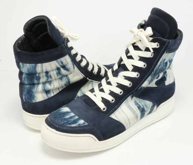 Item - Blue Tie-dye Canvas and Suede High-top Sneakers Size US 8 Regular (M, B)