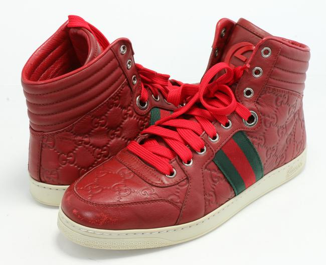 Item - Red ssima Leather High-top Sneakers Size US 7 Regular (M, B)