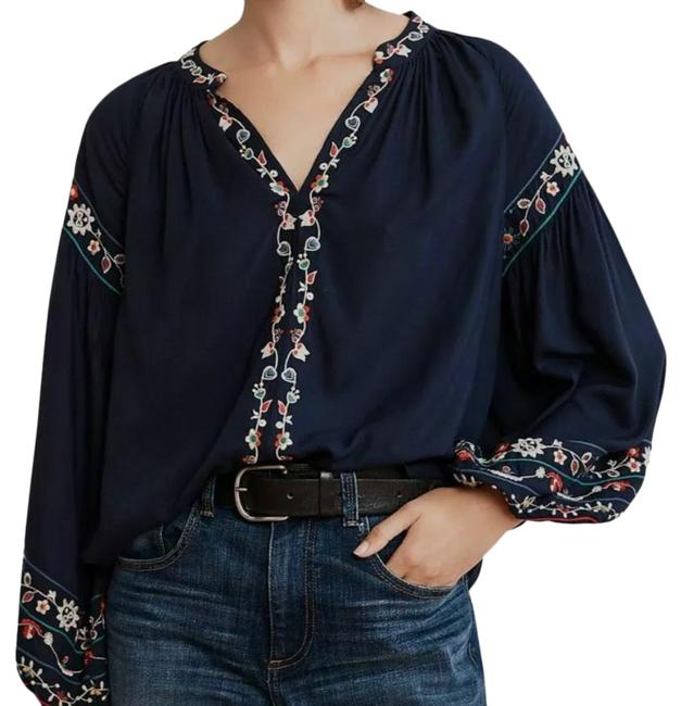 Item - Blue Embroidered Blouse Size 2 (XS)