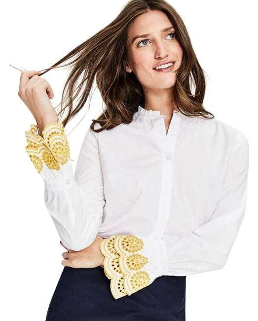 Item - White Blouse Cotton Eyelet Tiered Cuff Detail Yellow Button-down Top Size 2 (XS)