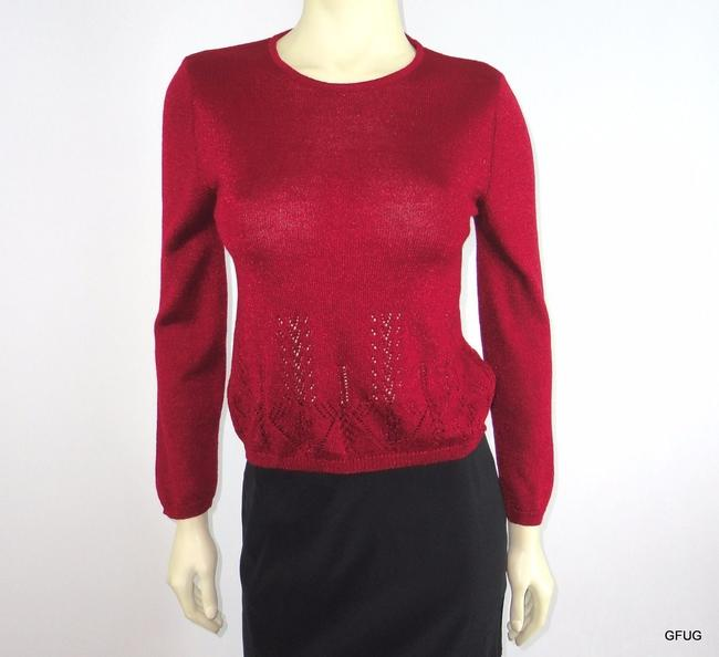 Oilily Metallic Rasberry Wool Blend Eyelet Knit Crewneck Sweater