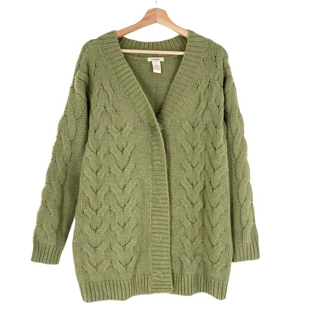 Item - Oversized Wool Cable Chunky Knit Cardigan Jacket Green Sweater