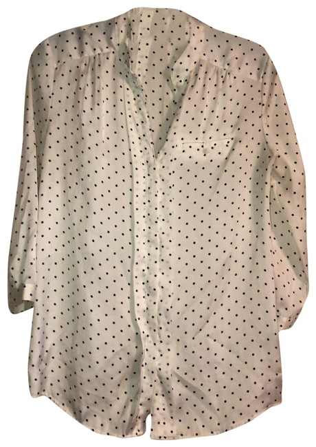 Item - White with Black Polka Dot Pleated Front Blouse Size 4 (S)