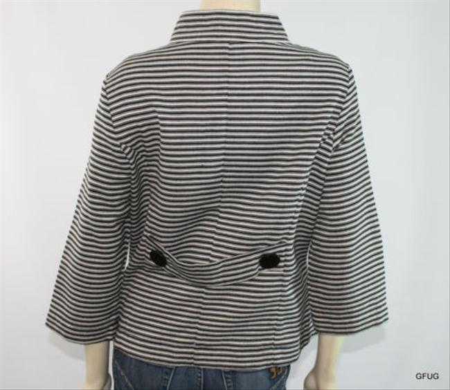 Other Nicaya Black White Cotton Blend Striped Blazer Jacket